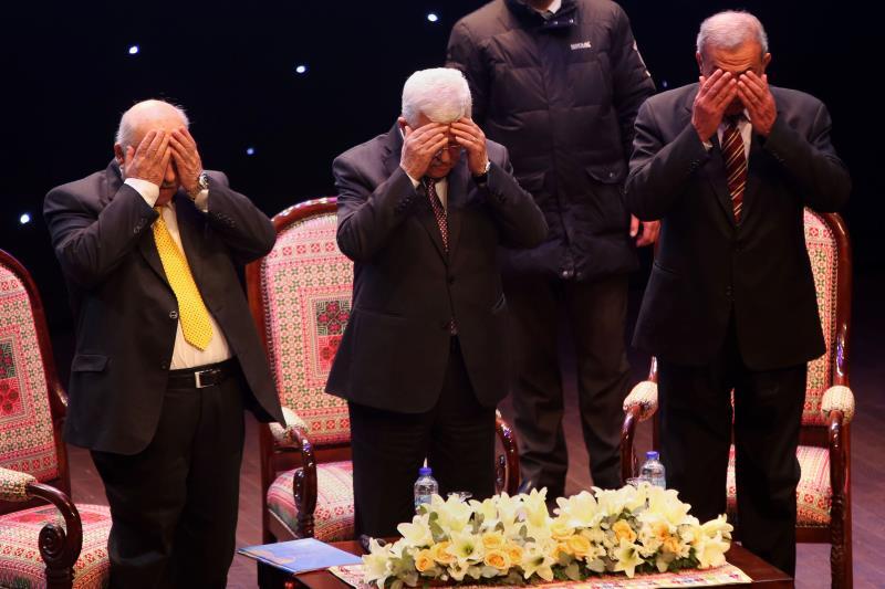 محمود عباس خلال مؤتمر عن مكافحة الفساد في فلسطين أمس
