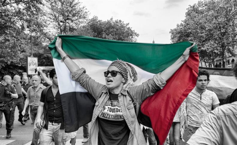 صورة لتطاهرة فلسطينية في باريس