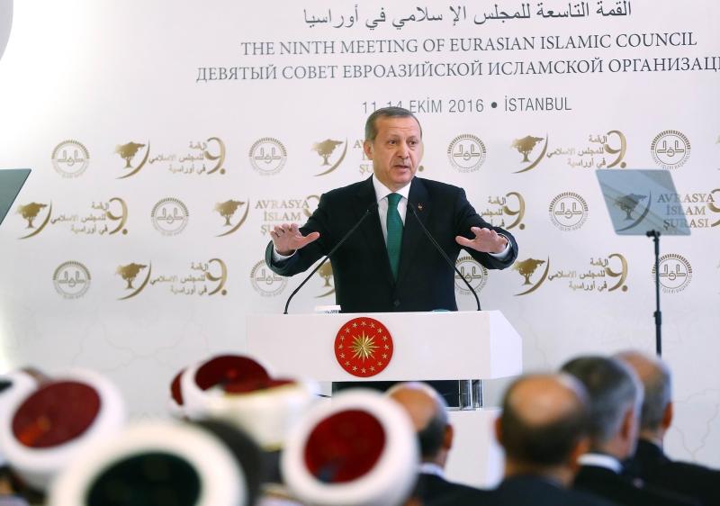 أتى كلام أردوغان أمام القمة التاسعة للمجلس الإسلامي في إسطنبول (أ ف ب)