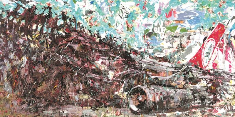 «ميدل إيست» (مواد مختلفة على كانفاس ـــ 200 × 400 سنتم ـــ 2014/2015)