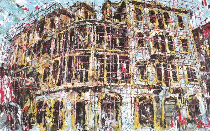 «مبنى بركات» (مواد مختلفة على كانفاس ـــ 250 × 400 سنتم ــ 2016)