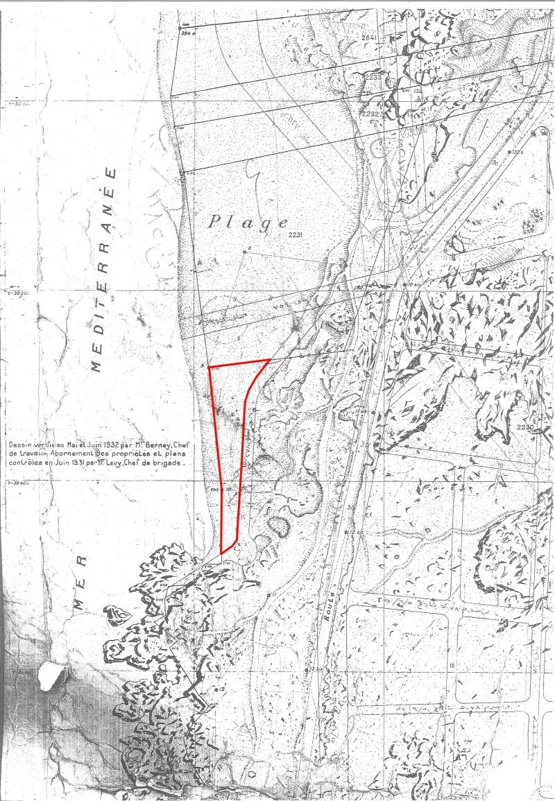 الخريطة رقم 2 الرملة البيضاء سنة 1932 تظهر مدى الشاطئ الرملي