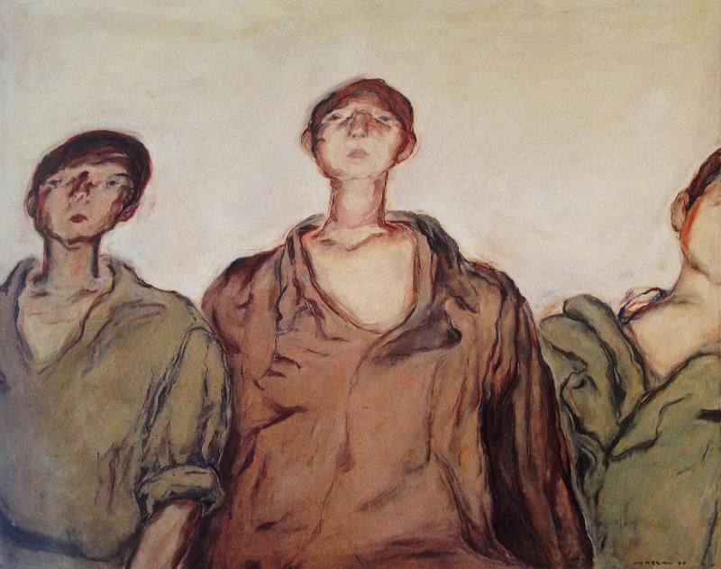 «ثلاثة أطفال فلسطينيين» لمروان قصاب باشي (زيت على كانفاس ــــ 130 × 162 سنتم ـــ 1970)