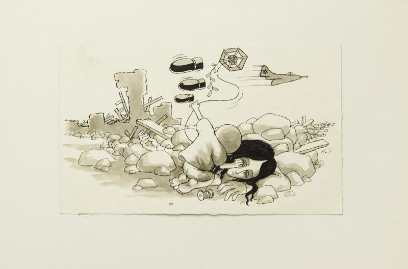من مجموعة كاريكاتور نادرة لناجي العلي، موجودة في إيران حالياً