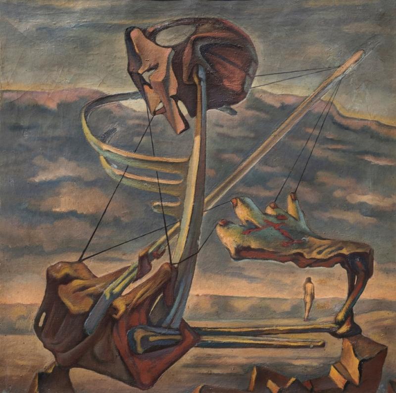 رمسيس يونان، «الطبيعة تحب الفراغ» (1944، زيت على قماش، 66 × 66 سم) بإذن من «متحف الفن المصري الحديث»، القاهرة، قطاع الفنون التشكيلية، وزارة الثقافة، مصر