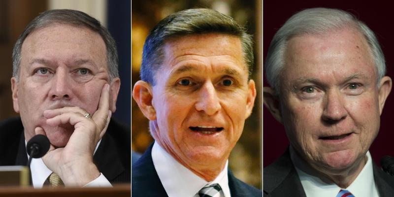 الشخصيات الثلاث التي اختارها ترامب: سيشنز وفلين وبامبيو (أ ف ب)