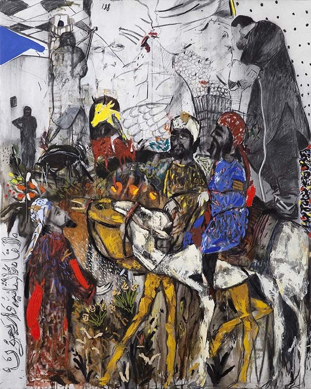 عبد القادري «26 فبراير 2015» (زيت وفحم على كانفاس - 200 × 160 سنتم - 2015)