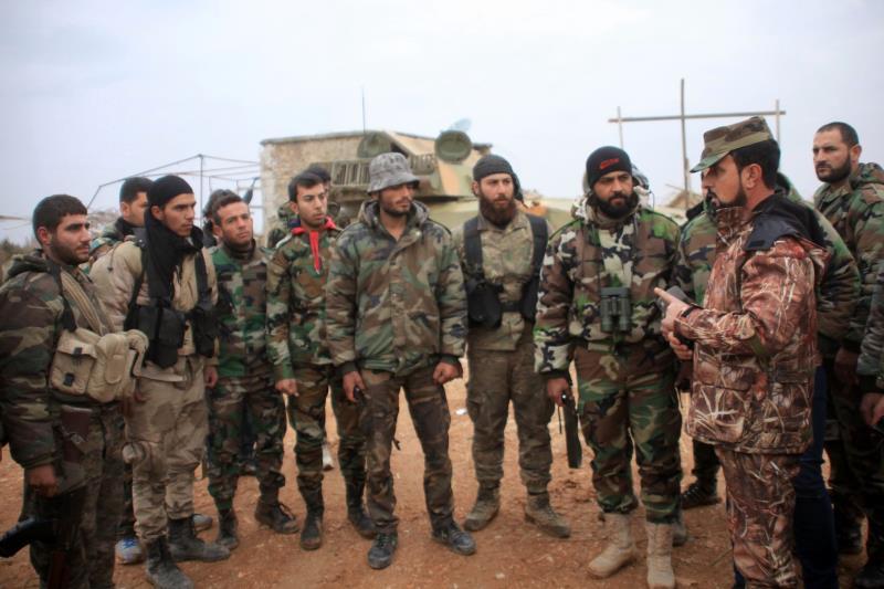 وحدات الجيش السوري في عين البيضا في ريف حلب الشرقي