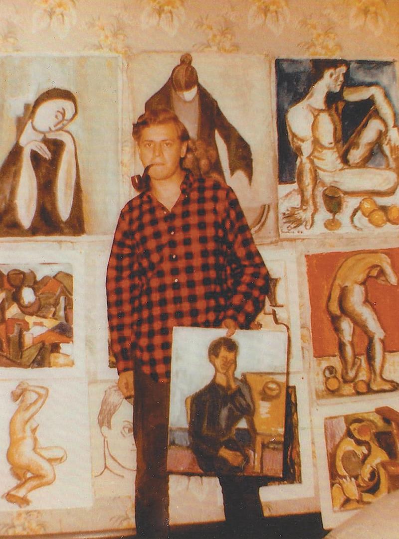 تشارلز سيميك أمام لوحاته عام 1955