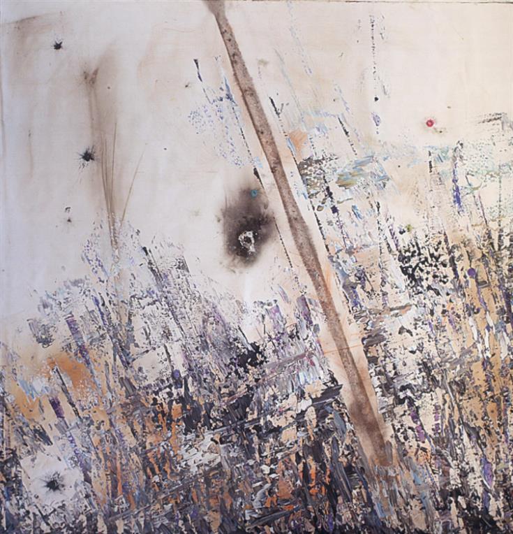 «من دون عنوان» (إكليريك على قماش محروق 178x178 سنتم -2012)