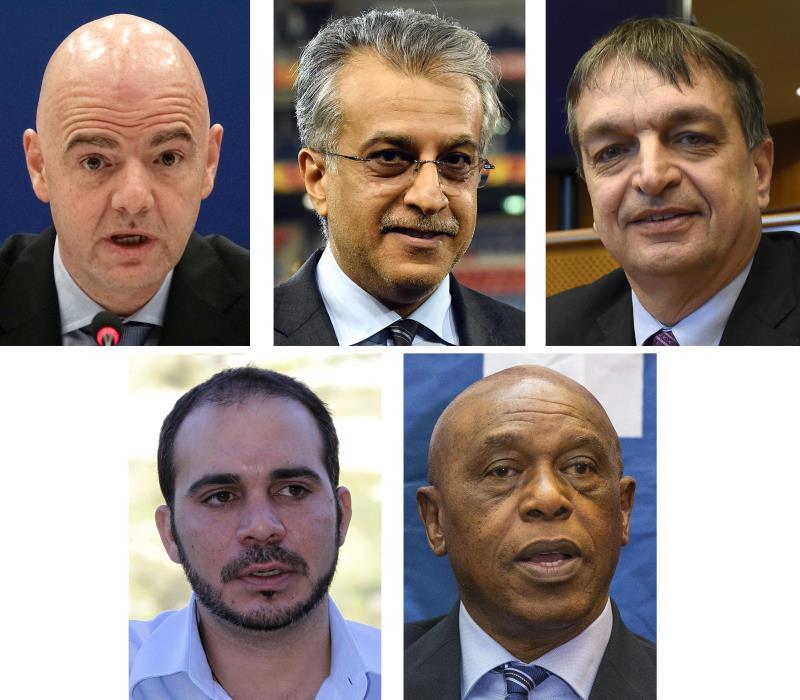"""خمسة مرشحين بشخصيات مختلفة لانتخابات رئاسة """"الفيفا"""" (أ ف ب)"""