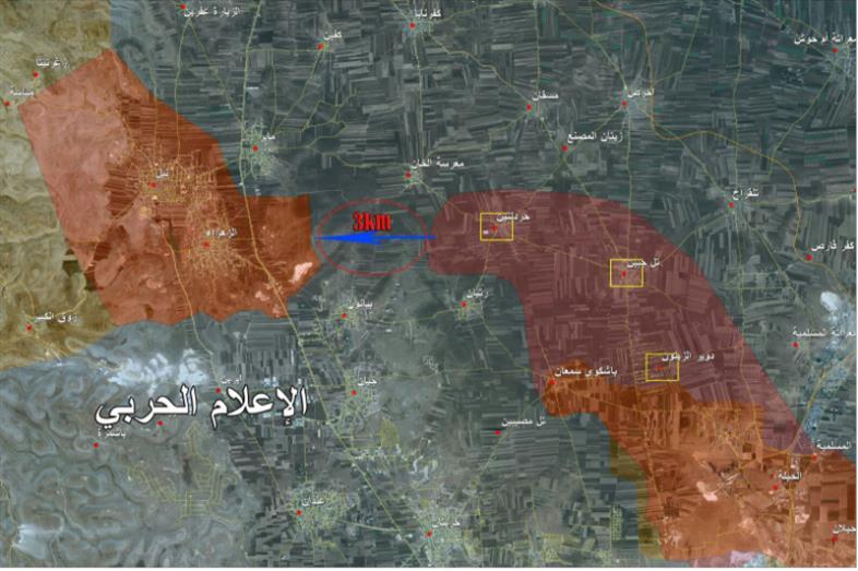خريطة وزّعها «الإعلام الحربي» تُظهر تقدّم الجيش نحو نبّل والزهراء