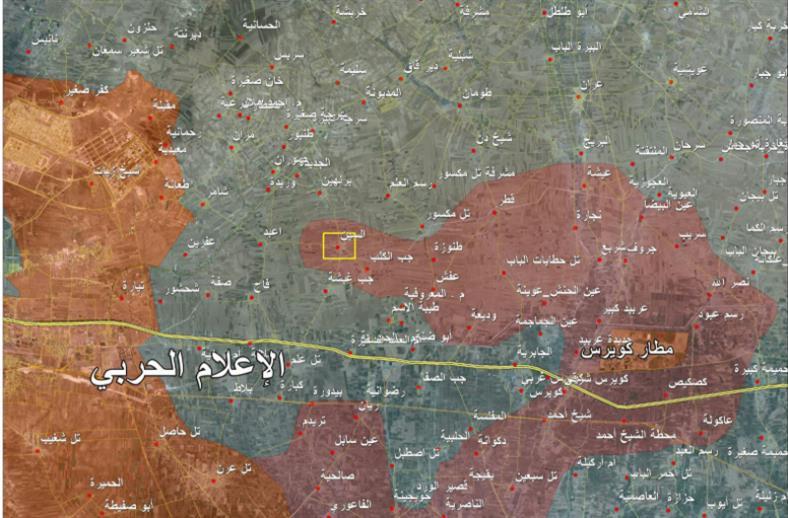 خريطة تظهر تقدّم الجيش السوري أمس في ريف حلب الشرقي (الإعلام الحربي)