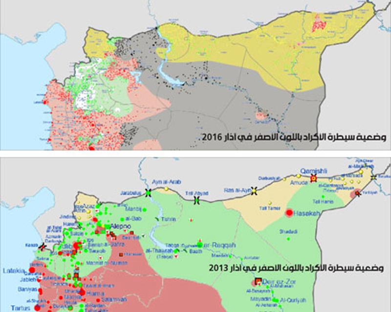 وضعية سيطرة الأكراد باللون الأصفر في آذار 2016