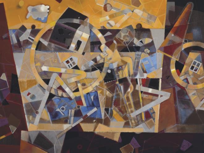 أعماله في المعرض: خريطة زمنية متحركة