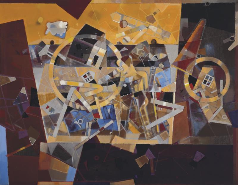 «رسالة لمعماري مجهول الهويّة» ( 2012 ــ أكريليك وزيت على قماش ـ 114×147 سنتم ــ مجموعة الفنان، باريس، فرنسا)