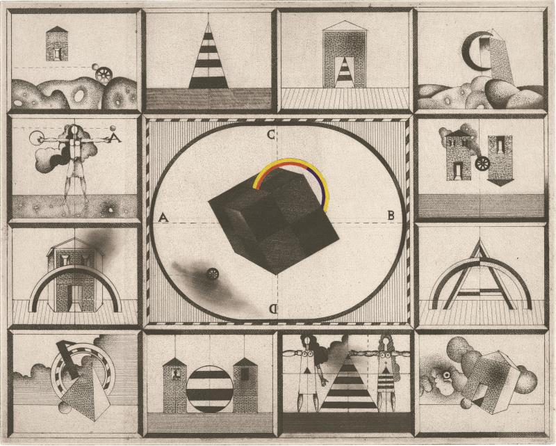 «المكعّب» ( 1975ــ حفر وتظليل بالحمض مطبوع على ورق  38×57 ــسنتم ــ مجموعة السيد والسيدة أبراهام قرهبجاكيان، بيروت، لبنان)