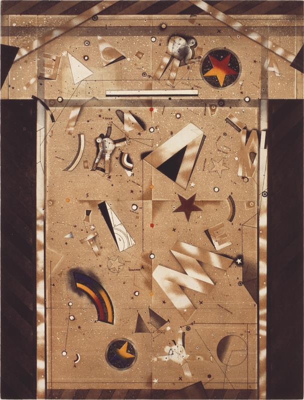 «تنقيب عن الآثار» ( 1993ـ1994 ــ حفر وتظليل بالحمض مطبوع على ورق، 76×56 سنتم ـــ مجموعة متحف سرسق – من إرث بيار قرداحي ـ 1996)