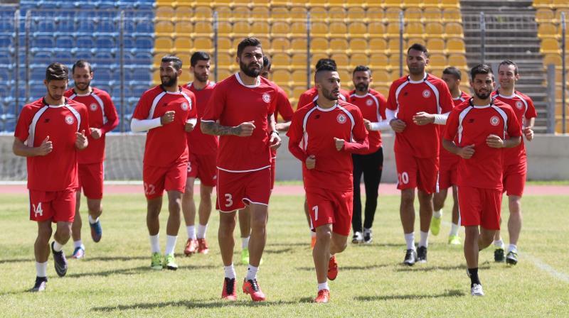 لاعبو لبنان خلال الحصة التدريبية الاخيرة قبل السفر الى كوريا الجنوبية