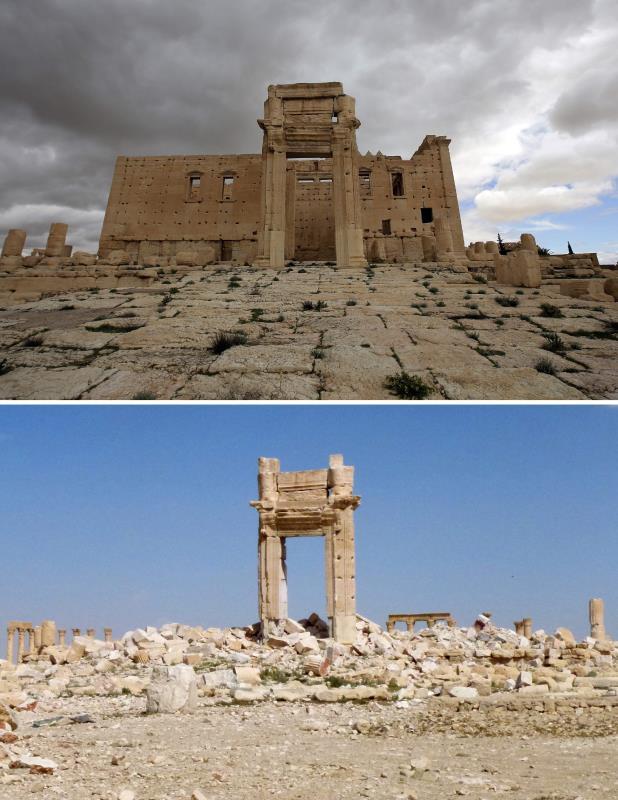 صورتان  لـ «معبد بل» تظهرانه قبل سيطرة داعش عليه، والركام الذي استحاله بعد الإعدام الذي خضع له على يد التنظيم