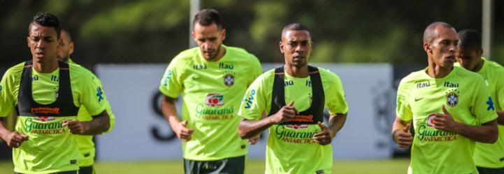 لاعبو البرازيل في حصة تدريبية استعداداً للباراغواي