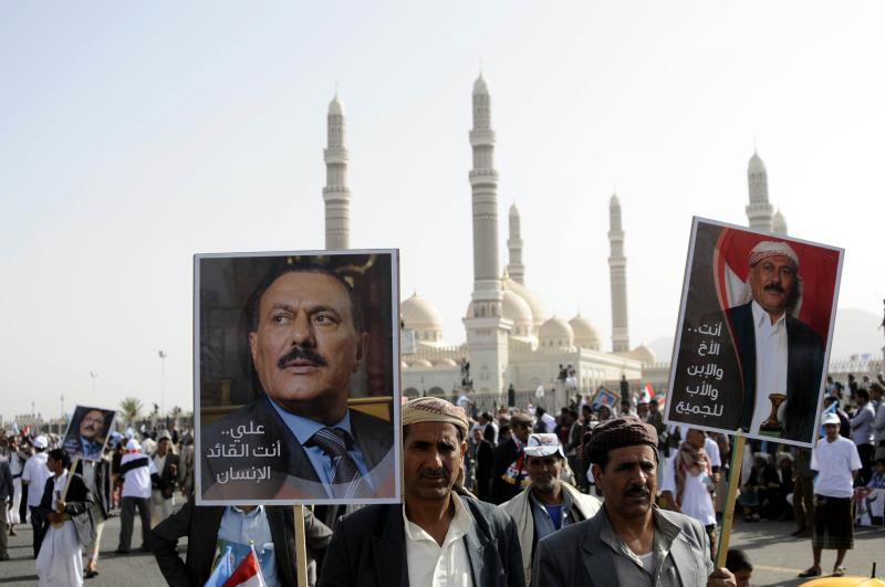 سُجّل حضور خاطف للرئيس السابق علي عبدالله صالح في صفوف المحتشدين في صنعاء