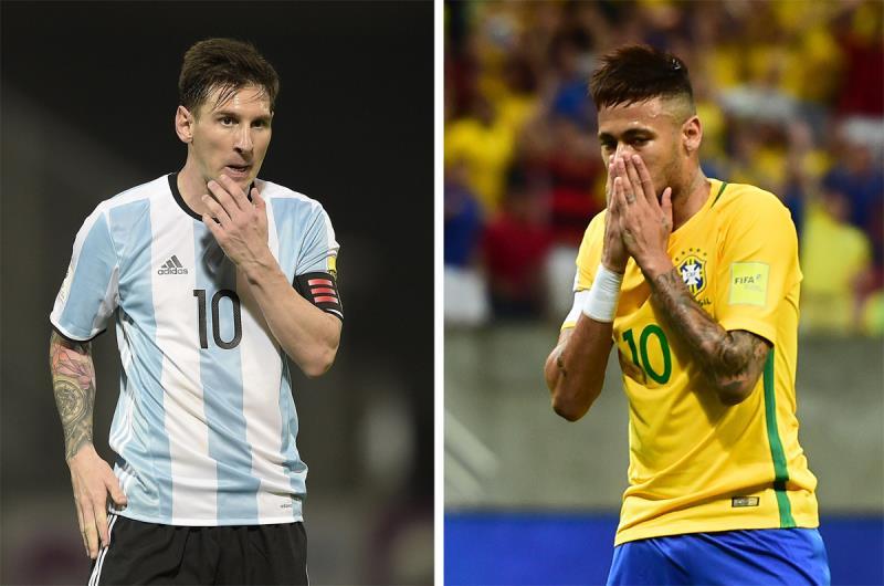 رهان البرازيل والأرجنتين الدائم على نيمار وميسي (أ ف ب)