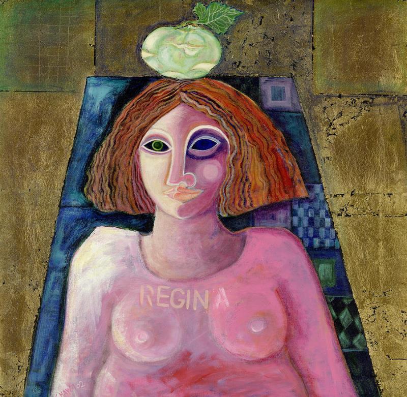 «ريجينا» للفلسطينية ليلى الشوا (أكريليك وورق معدني على كانفاس ــ 2004)