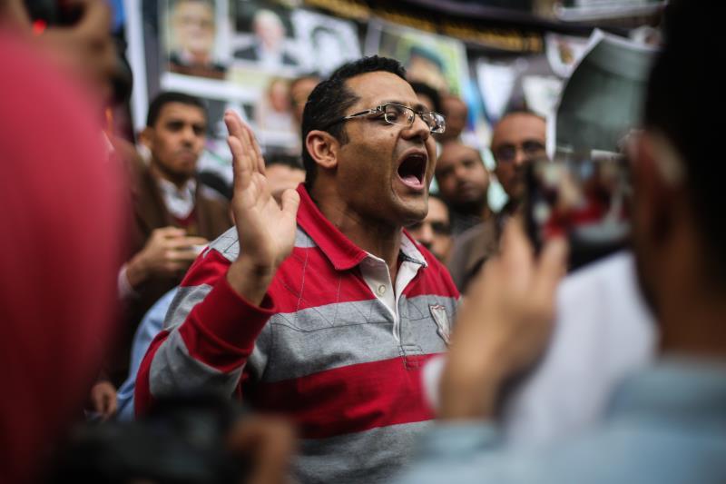 خلال اعتصام مطالب بالإفراج عن صحافيين معتقلين في القاهرة