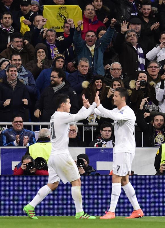 سجل رونالدو ورودريغيز هدفي الفوز لريال مدريد (خافيير سوريانو ـ أ ف ب)