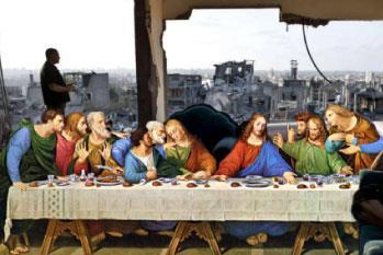 باسل المقوسي موثقاً عدوان غزة بالفنّ: المسيح وبيكاسو والآخرون شهداء على المجزرة