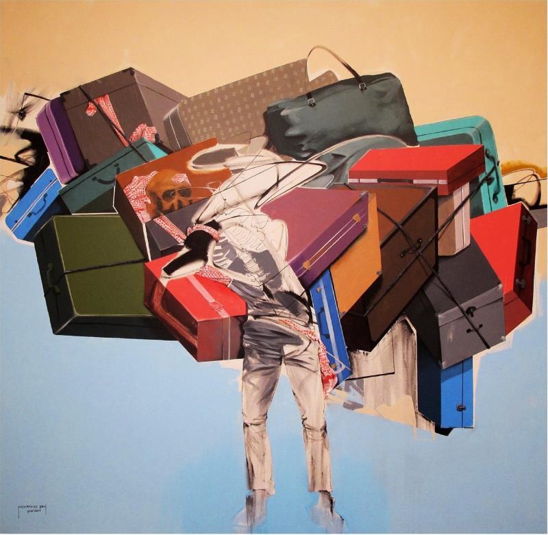 «مهاجر» للعراقي محمد سامي (أكريليك على كانفاس ــ 204×212 سنتم ــ 2013)