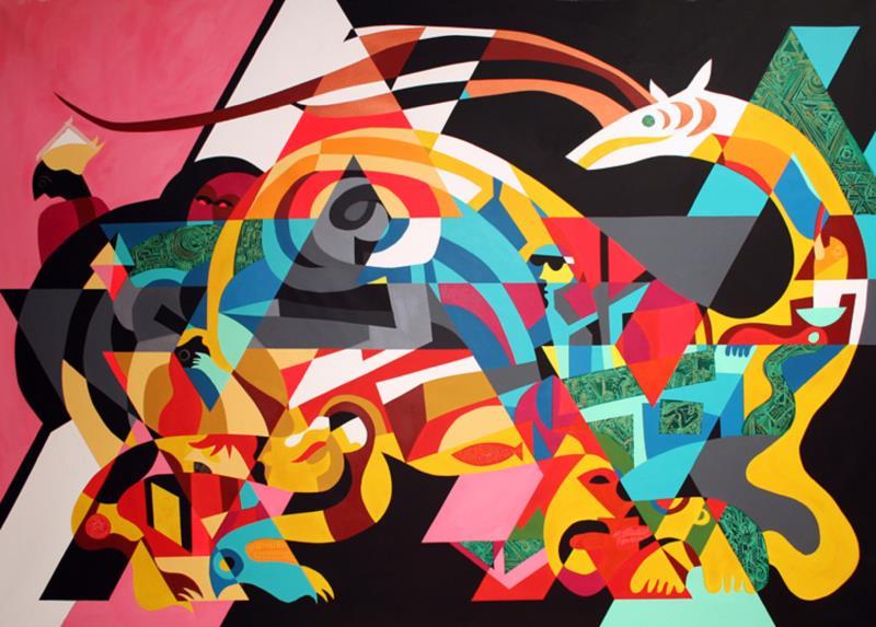 «بلدي» للفنان العراقي أثير (أكريليك على كانفاس ــ 190×280 ــ 2010)