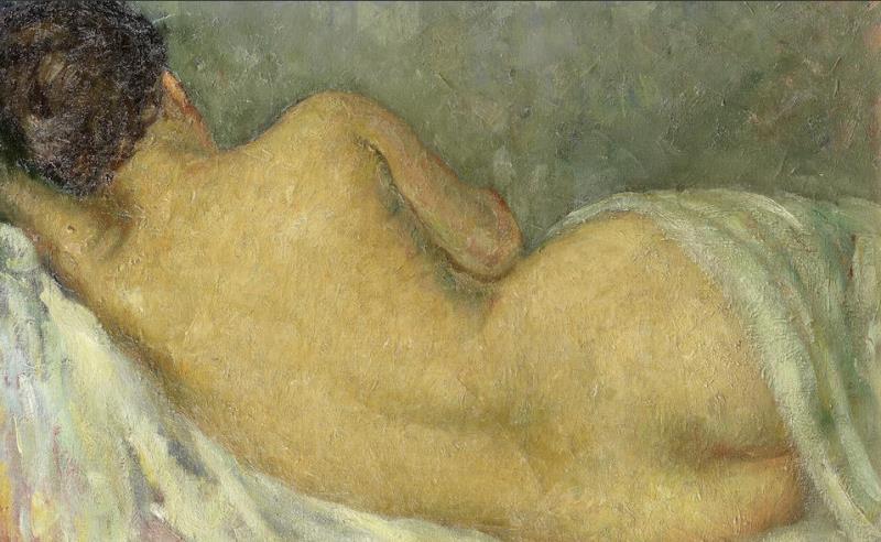 «عارية مستلقية» لسيزار جميّل  (زيت على كنفاس ــ 46 × 64 سنتم ــ أربعينيات القرن الماضي)