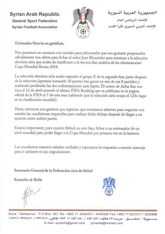 الكتاب الذي ارسله الاتحاد السوري مخاطباً مورينيو (عن صفحة الاتحاد السوري على فايسبوك)