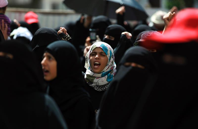 دعت مسيرة صنعاء إلى مواجهة الغزو الأميركي في الجنوب حتى دحره (أ ف ب)