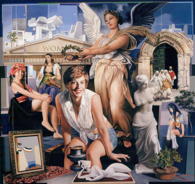 «تمجيد المرأة» (زيت، وأكريليك وغرافيت على كانفاس ـــ 150 × 160 سنتم ــ 2015)