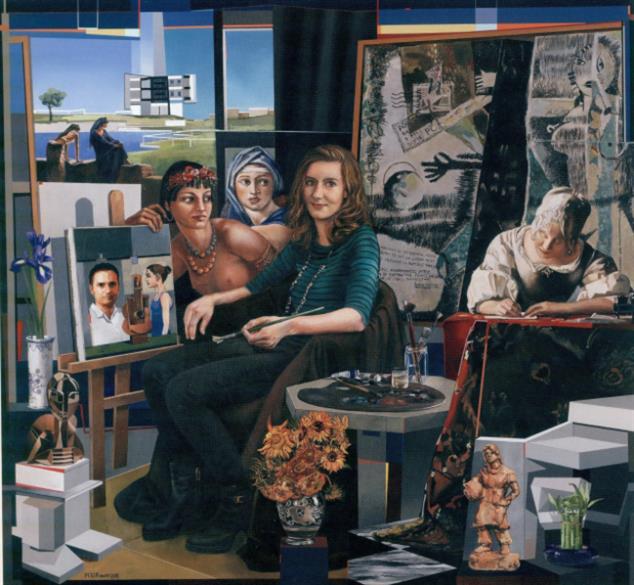 «عزيزي عاشق الفن» (زيت وأكريليك على كانفاس ــ 140 × 150 سنتم ــ 2015)