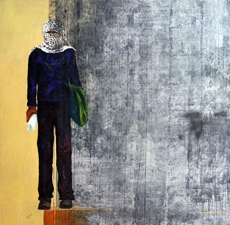 العمل للفنان الفلسطيني منذر جوابرة