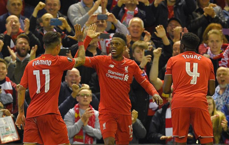 فرحة لاعبي ليفربول بالهدف الثاني للمباراة (أولي سكارف ـ أ ف ب)