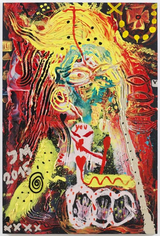 «السيدة الأعنف» للألماني جوناثان ميزه (أكريليك وزيت ومواد مختلفة على كانفاس ــ 140.3 × 210.5 سنتم ــ 2015)