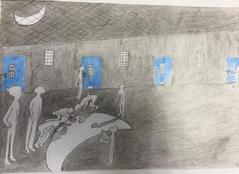 رسم للأسير وليد دقة عن صعوبة رؤية القمر من السجن
