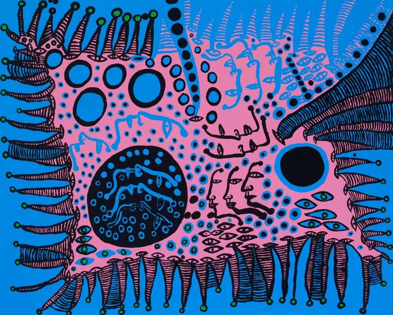 «حكاية بالأزرق ممتلئة بحياتي» للفنانة اليابانية يايوي كوسامي (أكريليك على كانفاس ــ 130,3 × 162 سنتم ــ 2009)