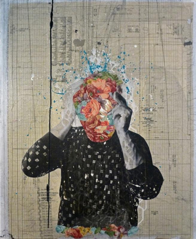 «بورتريه ذاتي بلا وجه» للأميركي فوستو فيرنانديز (مواد مختلفة على كانفاس ــ 2014)