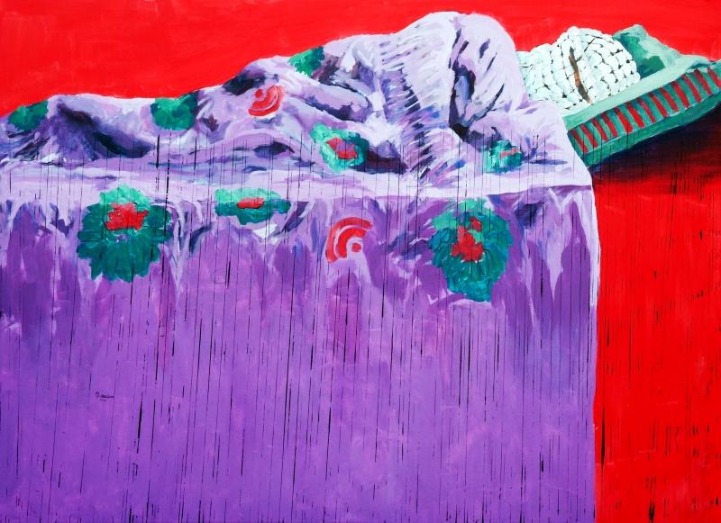 """""""نوم الفدائي"""" من اعمال الفنان الفلسطيني منذر جوابرة"""