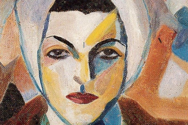 بورتريه ذاتي للفنانة (1943 ــ تفصيل ــ بإذن من مؤسسة سلوى روضة شقير)