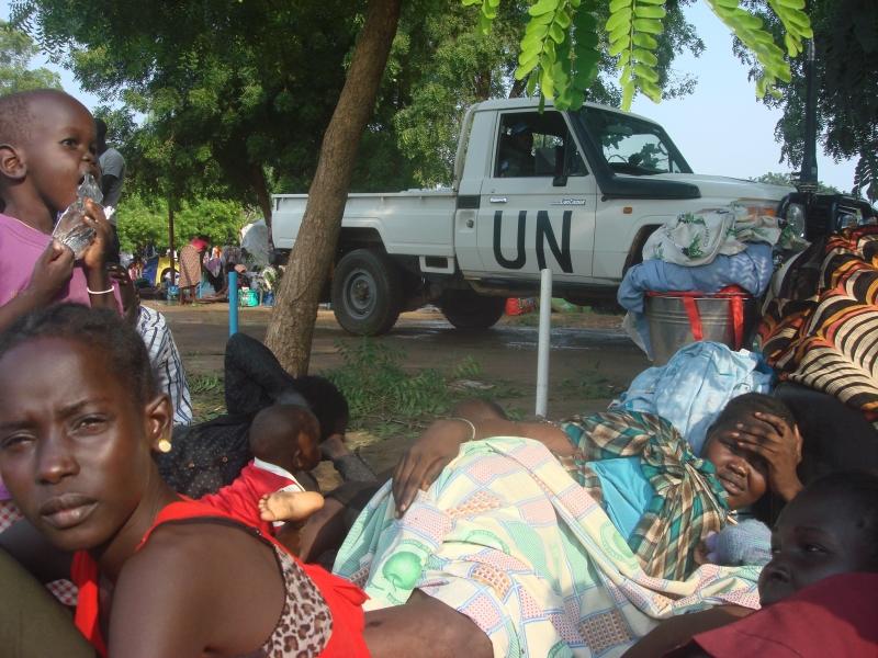 غالبية النازحين من النساء والأطفال فروا إلى مواقع حماية المدنيين
