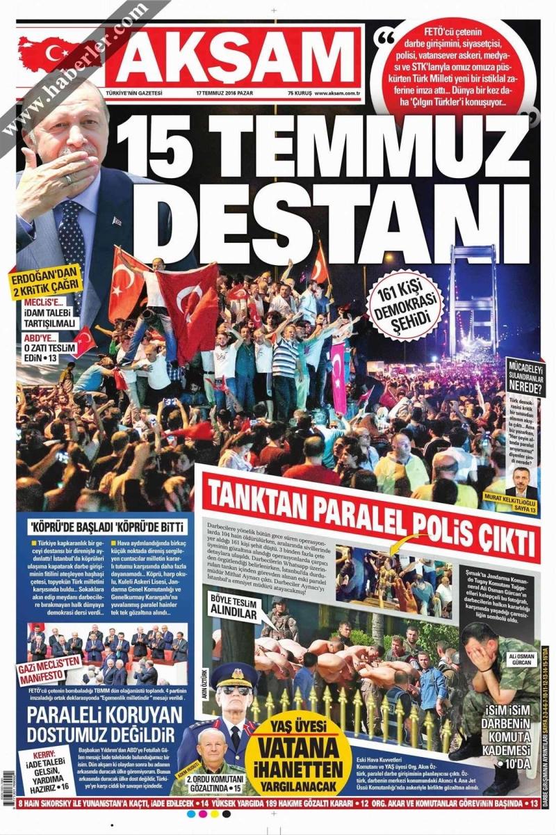 غلاف جريدة «بوغون» التركية أمس