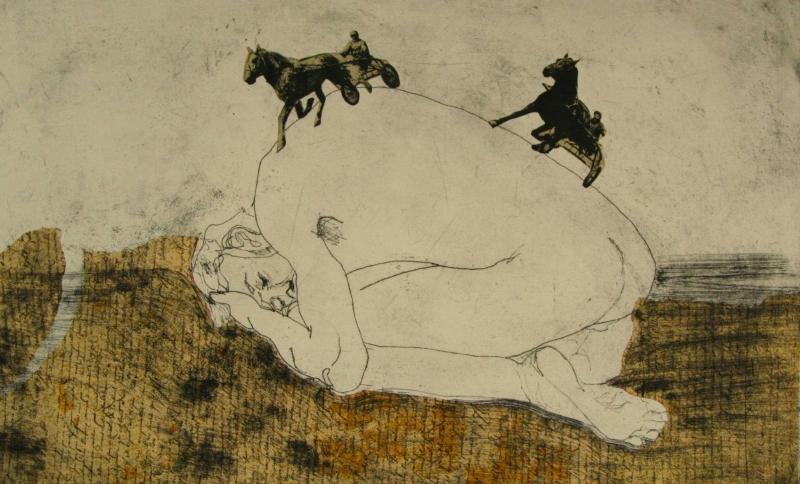 «بعد ركوبه الحصان بيوم» لبياتريس موراليس (مواد مختلفة على كانفاس ــ 22×29.5 سنتم)