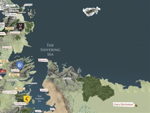 خريطة «عالم الجليد والنار» كما تخيلها كاتب الرواية جورج أر أر مارتن